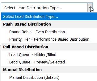 Lead Distribution Drop Down